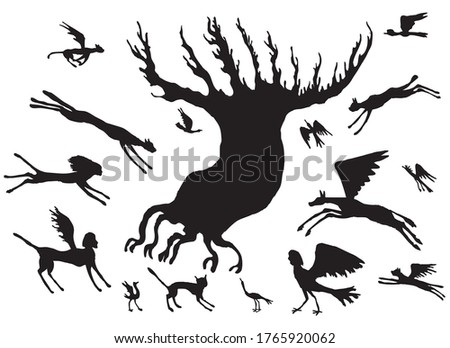 vector image of silhouettes of