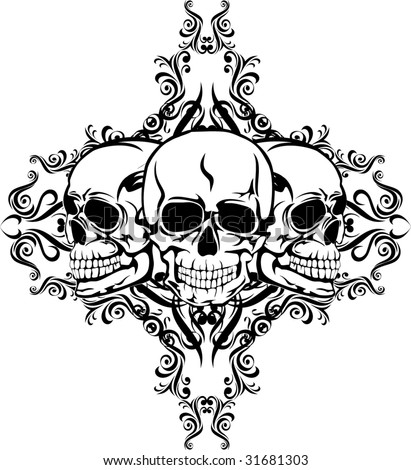 stock vector Vector image of skull with pattern design of tattoo