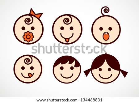 vector image of smiling flowers
