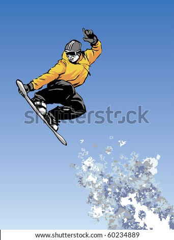 vector image of snowboarder