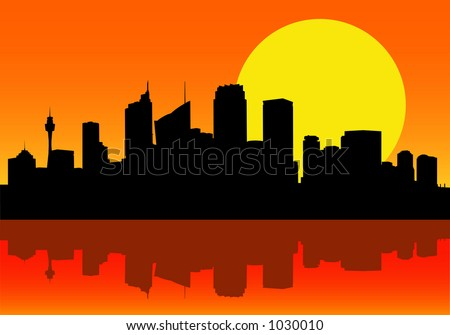 Vector Image of Sydney City Silhouette at Dawn