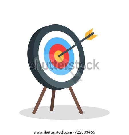 Vector image of the arrow is exactly on the target. Vector illustration isolated on white background