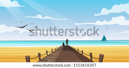 vector image of the beach on