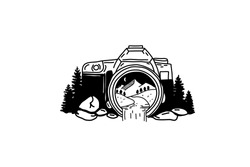vector image of the camera that captures beautiful nature. Trees, mountains and a river. An illustration of travel and great adventure.