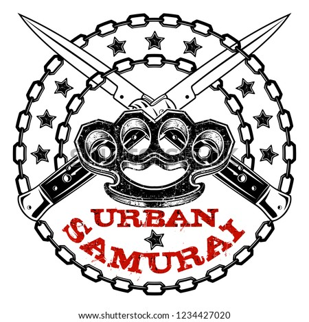 Vector image of the crossed switchblades, brass knuckles and chains. Inscription the urban samurai. Street weapon. Knuckle duster. Flick knife. Illustrations for t shirt print. Grunge print. Black.