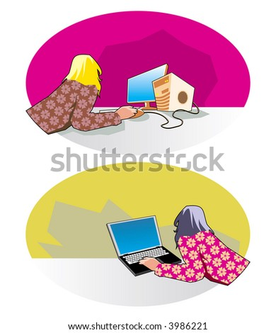 Vector image of the girl with a computer