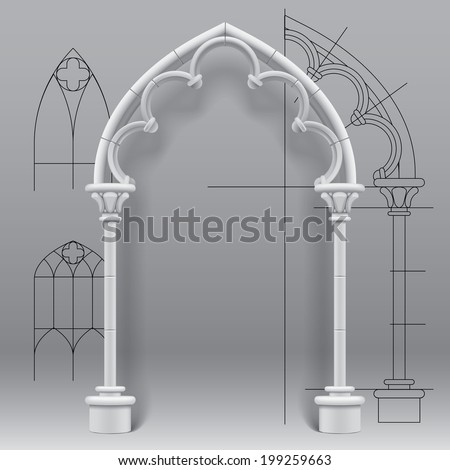Vector image of the gothic arch against a paper background with architectural draft