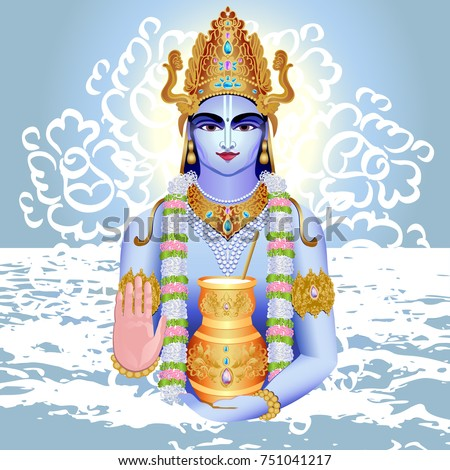 Vector image of the Indian Deity - Dhanvantari, the patron of traditional medicine - Ayurveda, healer in Hinduism.