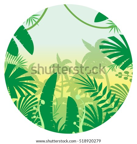 Vector image of the Jungle Flat Background - Shutterstock ID 518920279