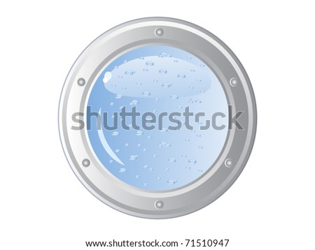 Vector image of the ship's porthole on a white wall. Behind him is visible water. Immersion in water. Isolated.