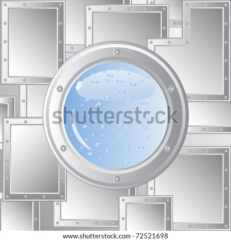 Vector image of the ship's porthole. The wall of metal plates fastened with rivets. Behind him is visible water. Immersion in water.