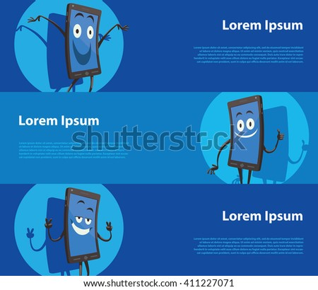 Vector image of three blue horizontal banners with cartoon image of three black smartphones with different emotions: happy, contented and joyful. Vector business illustration. #411227071