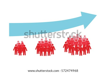 Vector image of three crowds of people getting bigger and an upwards arrow