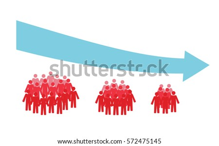 Vector image of three crowds of people getting smaller and a downwards arrow