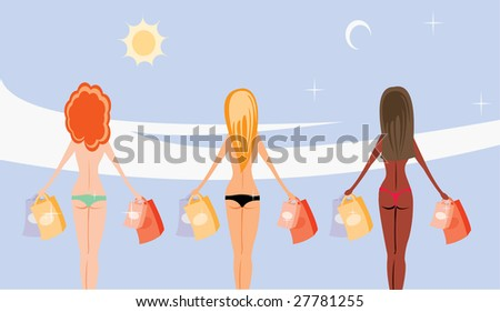 vector image of three girls with purchases