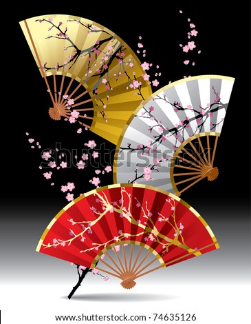 Vector image of three japanese fans with a cherry blossom branch on black background