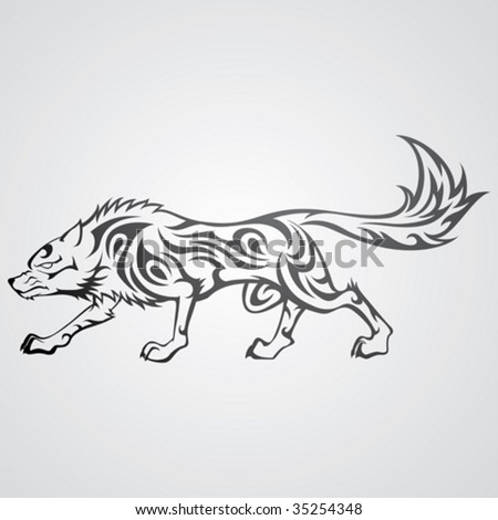 stock vector : Vector image of tribal wolf tattoo