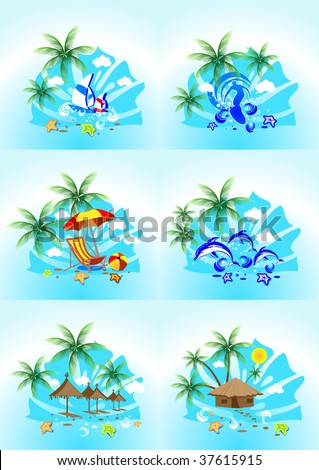 vector image of tropical images with the sea surf, palm trees and blue sky - stock vector