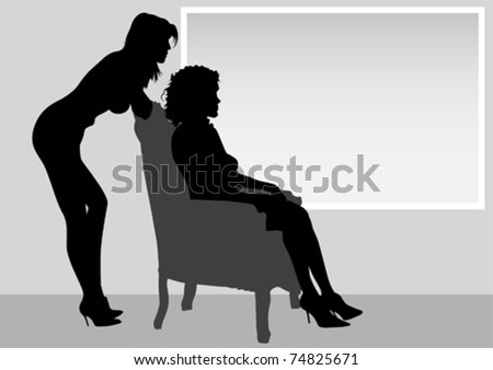 Vector image of two girls in an old chair
