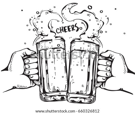 Vector image of two hands holding beer mugs. Drinks with a lot of foam forming a heart shape. Cheers.