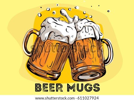 Vector image of two mugs of beer. Drinks with a lot of foam.