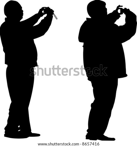 vector image of two tourists photograph