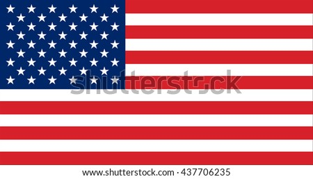 Vector image of  United States of America flag. The Star-Spangled Banner.  Old Glory.  The Stars and Stripes. Proportion10:19. EPS10.  #437706235