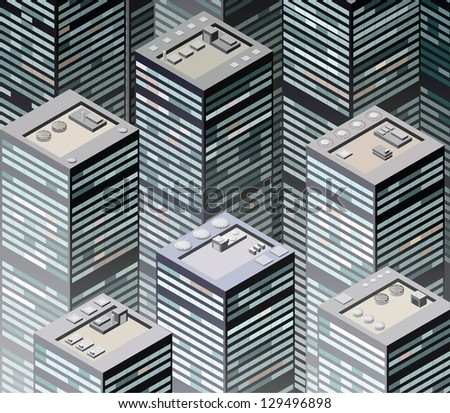 Vector image of urban areas in the isometric