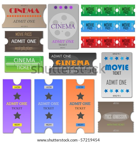 Vector image of various cinema tickets.