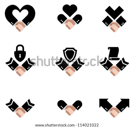 Vector image of various icons of handshakes