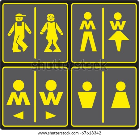 Vector image of various restroom signs, set of wc icons