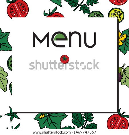 Vector image of vegetables: eggplants, cucumbers, tomatoes for vegetarian and other menus, restaurants, banners, websites, printed leaflets, social networks, checklists for healthy diet