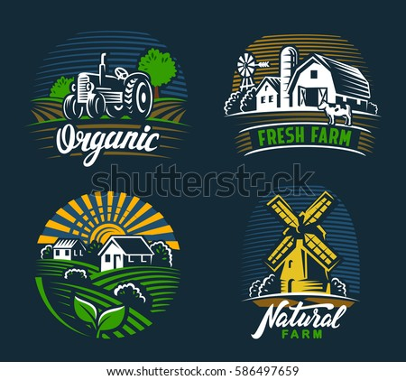 vector image of village and landscape agriculture emblem