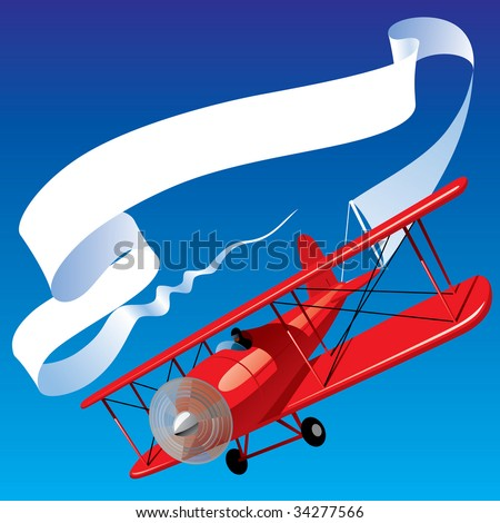 Vector image of vintage red airplane with blank banner in the sky