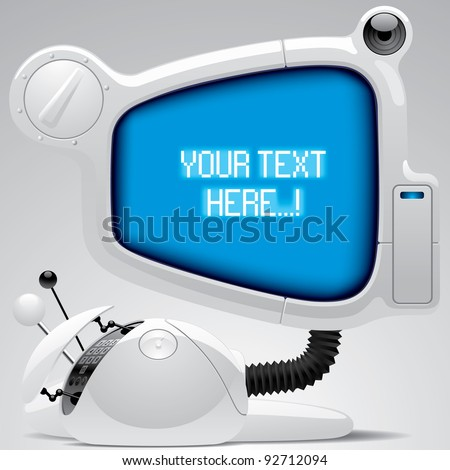 Vector image of white futuristic electronic gear with big blue display
