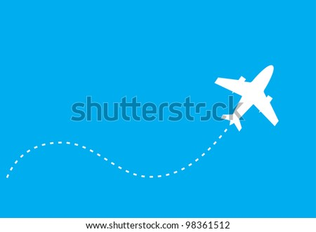 vector image of white silhouette of jet airplane, isolated on blue