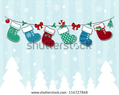 vector image of winter background with christmas socks and ornaments