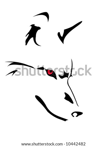 stock vector : vector image of wolf's head isolated on white