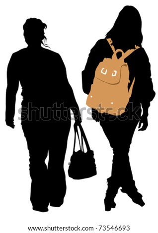 Vector image of women with bags and backpacks