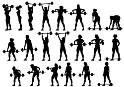 Vector image of young athletic women with a heavy barbell
