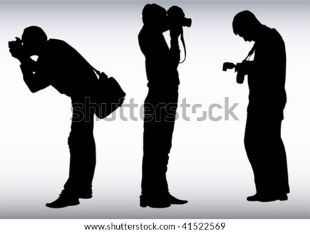 Vector image of young photographers with equipment at work