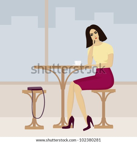 vector image of young woman in