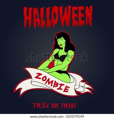 vector image of zombie girl
