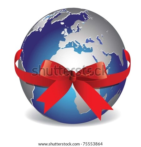 vector image. Planet Earth with red ribbon.