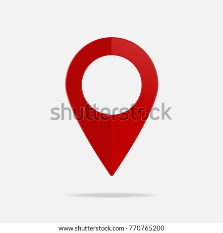 Vector image  positioning on the map. Mark GPS icon. Red icon location drop pin on a light background.