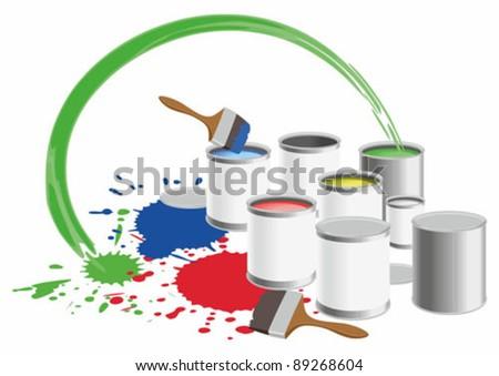 Vector image pots with a colour paint.