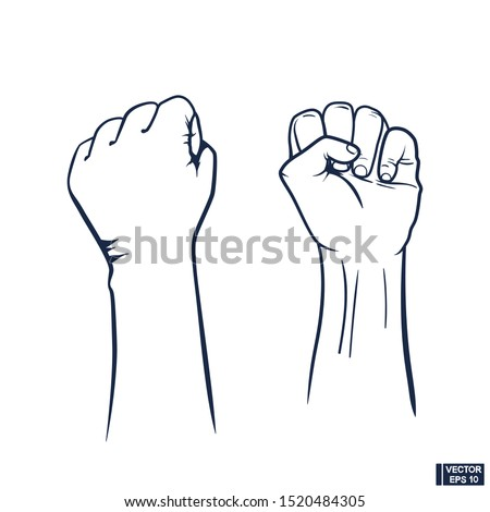 Vector image. Raised fist icon. Clenched fist held in protest. Revolution Fist Raised In The Air.