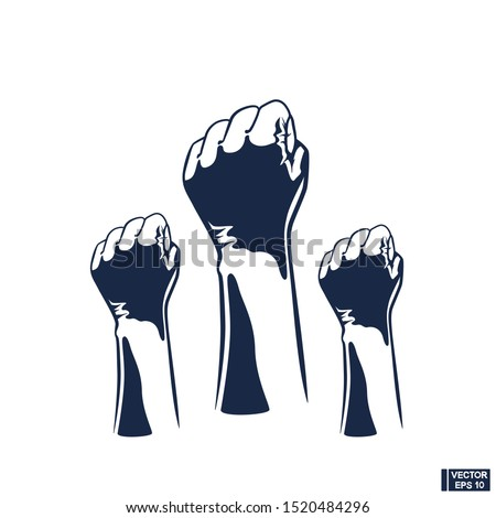 Vector image. Raised three fists. Clenched fist held in protest. Revolution Fist Raised In The Air.