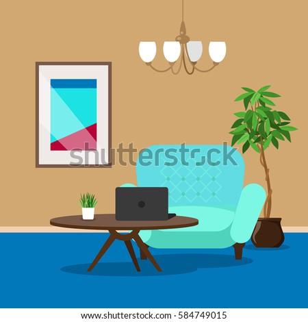 vector image room interior