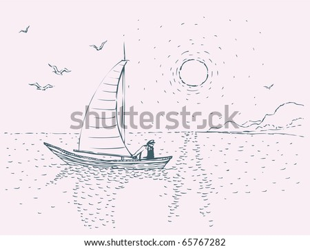 vector image seascape with